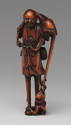 Netsuke, often made of expensive, rare materials and bearing the signature and seal of the carver, were designed not only for their functional ability to carry things, but also as markers of wealth. Learn more in this Heilbrunn Timeline of Art History essay. | Netsuke: Ashinaga and Tenaga, 18th century. Japanese. Gift of Mrs. Russell Sage, 1910 (10.211.2348)