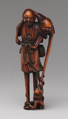 Netsuke: Ashinaga and Tenaga, 18th century. Japanese Wood.