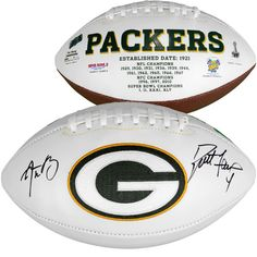 Aaron Rodgers, Brett Favre Green Bay Packers Fanatics Authentic Autographed White Panel Football - $899.99