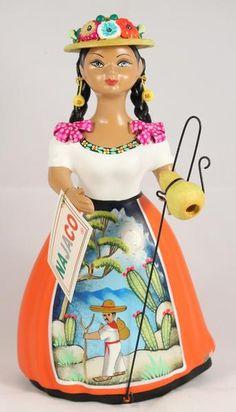 "Premium ""Lupita"" Najaco Ceramic Figure Doll Figurine Original Authentic Mexican Folk Art Tonala Mexico Collectible Home Decor Pottery Shepherdess Orange Skirt Hand Painted made for Wandering Gypsy Ceramic Figures, Ceramic Art, Mexican People, How To Make Paint, Mexican Folk Art, New Artists, Hand Painted, Ceramics, Dolls"