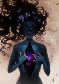 """"""" Ela carrega todo o universo dentro dela, mantém as galáxias perto de seu coração. Suas veias estão cheias de constelações e poeira estelar . """""""