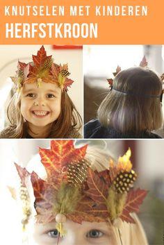 Leuk om te knutselen met de kinderen. Maak van gedroogde bladeren die je gevonden hebt in het bos leuke herfst kroontjes met kraaltjes, veertjes en vilt. Lees de stap voor stap beschrijving voor de herfstkroon op de blog.