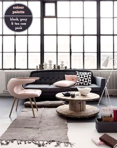 pink, black, grey, white, wood cable spool coffee table