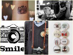 Camera Fotógrafo Tatuagem Smile Botton