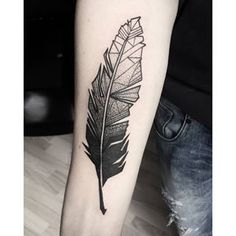 geometric feather tattoo - Google Search