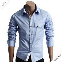 Mens Casual Pocket Point Slim Dress Shirts(HC908)