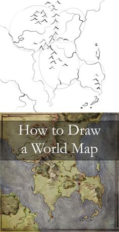 Worldbuilding By Map Building a map can be a great way to build a world - this tutorial walks through 6 steps from the first outline idea to an fully fledged world. Writing Fantasy, Writing A Book, Map Sketch, Sketches, Drawing Tips, Drawing Reference, Drawing Ideas, Design Reference, Drawing Tutorials