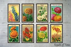 DIY Projects - Knick of Time Antique Flower Seed Packets Labels