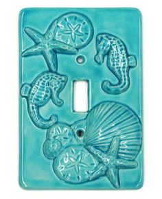 Ceramic Switch Plate Aqua Seahorse Seashell Starfish Wall Decor
