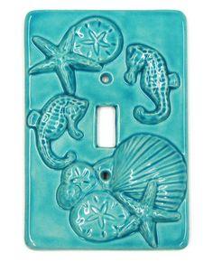 Ceramic Switch Plate Aqua Seahorse Seashell Starfish Wall Decor