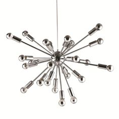 """The Sputnik Hanging Chandelier adds atomic modern style to any room Overall Dimensions: 23""""H x 23""""W x 23""""D Color: Silver Weight: 15 Type of bulb: E12, Maximum Watt: 40W each, Bulbs included, Uses 24 b"""