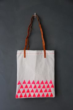 Awesome hand-printed neon tote!