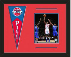 One framed 8 x 10 inch Detroit Pistons photo ofBrandon Knight  with a Detroit Pistons mini felt banner, double matted in team colors to 20 x 16 inches.  The lines show the bottom mat color.  (Pennant design subject to change) $79.99 @ ArtandMore.com