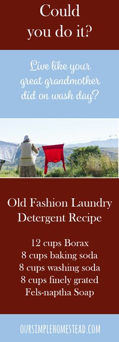 Old Fashion Laundry Detergent Recipe - Could you live like your great grandmother did on wash day?  I only have one memory of my great grandmother.  It was her standing in an upstairs window watching me play in the yard of my grandmother's house.  I don't remember talking to her, but I can still see her standing at that window.