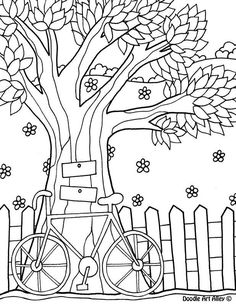 Free printable tree coloring pages from doodle art alley Tree Coloring Page, Coloring Book Pages, Coloring For Kids, Coloring Sheets, Motifs D'appliques, Hand Embroidery, Embroidery Designs, Tree Of Life Jewelry, Applique Patterns