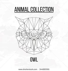 Owl head geometric lines silhouette isolated on white background vintage design element picture
