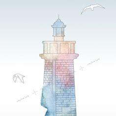 """L'affiche maritime """"Phare à l'aquarelle"""" est inspirée du phare de Capbreton, dans les Landes. Travaillée dans des tons doux et lumineux, elle apportera une touche délicate à votre intérieur. // The sea poster """"Watercolour lighthouse"""" is inspired by the lighthouse of Capbreton, in the french moor. Designed in soft and luminous nuances, it will bring a delicate touch to your interior. • Printable design - creativelune.com Graphic Design Posters, Lighthouse, House Design, Corporate Design, Printable, Watercolor Painting, Event Posters, Bell Rock Lighthouse, Light House"""