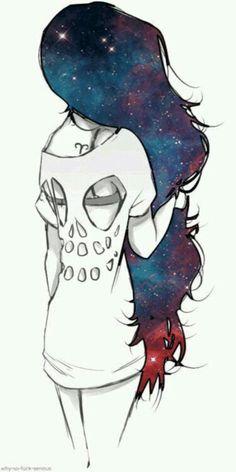 Chica cabello galaxia