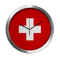 SWISS CROSS FLAG Modern Wall Clock