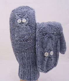 Hand Knitt Owl Mittens Women Mittens Grey Owl by evefashion, £18.00