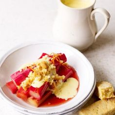 Treat yourself to rhubarb with our Modena balsamic vinegar, custard, and crumbly shortbread for a light and in-season dessert! Recipe @jamieoliver.