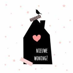 Hippe verhuiskaart! Met zwart huisje, sterretjes, plakband-effect en vogeltje. De kaart kan je ook  gebruiken om te laten weten dat je verhuisd bent.