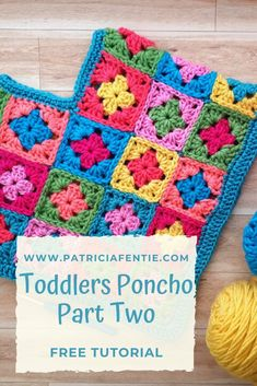 Check out this FREE Crochet Pattern and Tutorial on how to crochet a sweet Granny Square Poncho for Toddlers. This is Part Two, and Part One is available on my website as well! This project is suited for beginners. Crochet Baby Poncho, Crochet Baby Blanket Free Pattern, Crochet Toddler, Crochet Poncho Patterns, Baby Girl Crochet, Crochet Baby Clothes, Crochet Granny, Crochet For Kids, Free Crochet