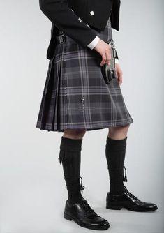 Persevere Flint Grey Tartan 8 Yard Kilt Le Kilt, Modern Man, Tartan, Leather Skirt, Yard, Grey, Cotton, Clothes, Fashion