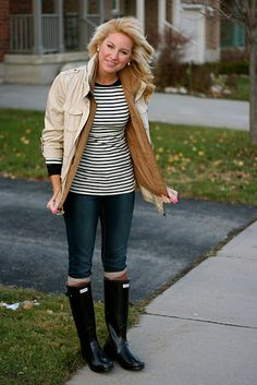 I wore this exact outfit, strips rain boots and a brown sweater and I got lol's from my family .. Come to find out Kristen knows her stuff ;)