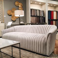Spotted at #hpmkt! #hpmktSS @bethdotolo spotted the Channel Sofa at @interlude.weiman! This sexy sofa with a vintage appeal can be customized for our clients. We love those sinuous curves contrasting with the geometric lines of the channel tufting.