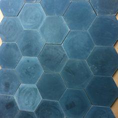 Blue encaustic concrete tile from a Jessica Helgerson project.