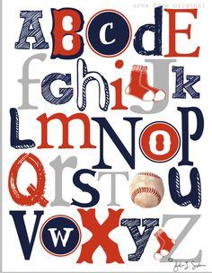 """For all you parents (or parents-to-be) who are Red Sox fans! """"Boston Red Sox Inspired ABC Print"""" from AreaFareKids on Etsy. My only quibble is that I wish the baseball had been used as the letter O."""