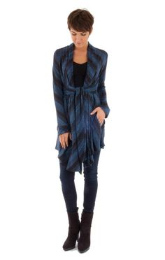 Miles of Smiles Cardigan Wrap in Royal Stripe from KOKOON