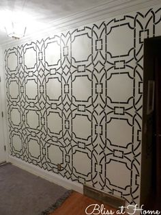 Allover wallpaper stencil on wall | Contempo Trellis Stencil by Royal Design Studio | Project by Bliss at Home http://bliss-athome.com/2013/06/24/entry-way-makeover-with-royal-design-studio-stencils/