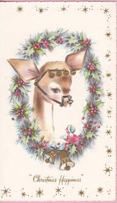 Carta natale cervo di piccoli Vintage 1960 di VintageSouthernLady
