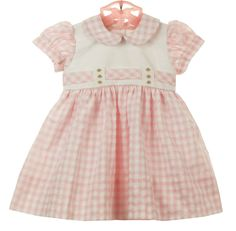 NEW Marco & Lizzy Pink Checked Cotton Vintage Style Dress with Pink Embroidered Rosebuds starts at $60.00 #EasterDress