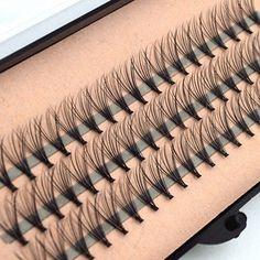Hot 60pcs Professional Black Man-made Makeup Individual Cluster Eye Lashes Grafting Fake False Eyelashes