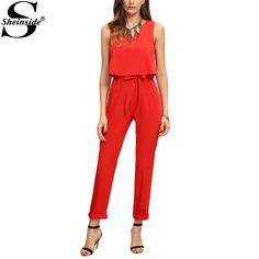 Sheinside Women Red Sleeveless Bow Tie Waist Jumpsuit Sexy New Arrival Crew Neck Ladies Work Summer Jumpsuits