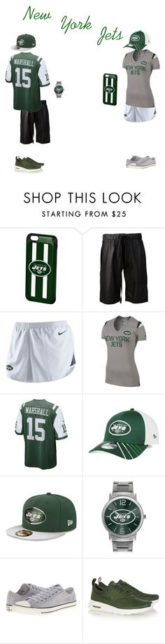 """""""New York Jets"""" by hoodie-326 on Polyvore featuring Forever Collectibles, Vera Wang, NIKE, New Era, Game Time, Converse, women's clothing, women's fashion, women and female"""