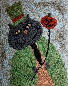"Primitive Folk Art Punch Needle Embroidery or Hooked Rug Pattern ""Winston"". $8.50, via Etsy."