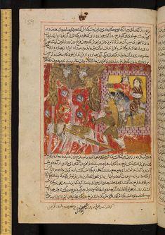 Khurshidshah and Mah Pari (?) emerging from the city gate; in foreground, a peasant ploughing with oxen; Kitāb-i-Samak 'Iyār (pt.3)   Ibn Abī al-Qāsim Shīrāzī, Ṣadaqah
