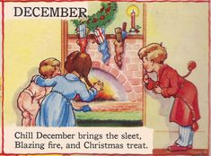 """December by Eulalie """"The Garden Year"""" from The Bumper Book. Antique Illustration, Children's Book Illustration, Vintage Children's Books, Vintage Cards, Kids Christmas, Vintage Christmas, Christmas Morning, Christmas Wishes, December Baby"""