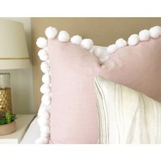 Pom Pom Blush Linen Pillow Cover Blush Pillow Rose Pillow Pink Pillow... ($40) ❤ liked on Polyvore featuring home, home decor, throw pillows, decorative pillows, home & living, home décor, silver, blush throw pillows, light pink throw pillows and rose home decor