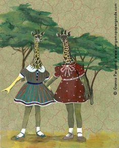 "Giraffe Girls Art Print 8""x10"" by PergamoPaperGoods on Etsy"