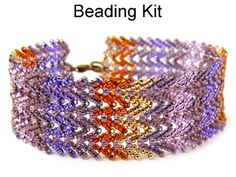Designer Chevron St. Petersburg Stitch Beading Tutorial Pattern Instructions Directions Kit