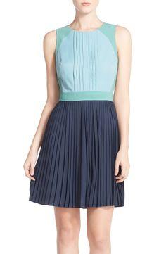 Chelsea28 Colorblock Pleat Fit & Flare Dress | Nordstrom