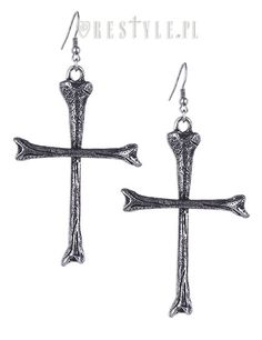 The Bone Cross Earrings are large droppers by Restyle, and would look awesome as part of a gothic outfit! Description from attitudeclothing.co.uk. I searched for this on bing.com/images
