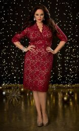 Scalloped Lace Cocktail Evening Dress, Red Lace/Nude Lining (Womens Plus Size)
