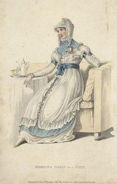 """September """"morning dress on a visit"""", 1810 England, La Belle Assemblée. I love this!"""