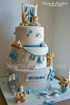 beautiful baby shower cake for baby boy Torta Baby Shower, Baby Boy Shower, Teddy Bear Baby Shower, Baby Shower Cakes For Boys, Beautiful Cakes, Amazing Cakes, Gateau Baby Shower Garcon, Teddy Bear Cakes, Teddy Bears